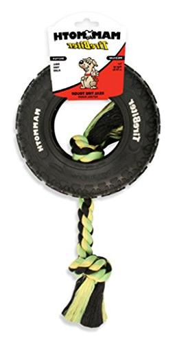 Tire Biter Paw Track with Rope Dog Toy in Black  Size: Small