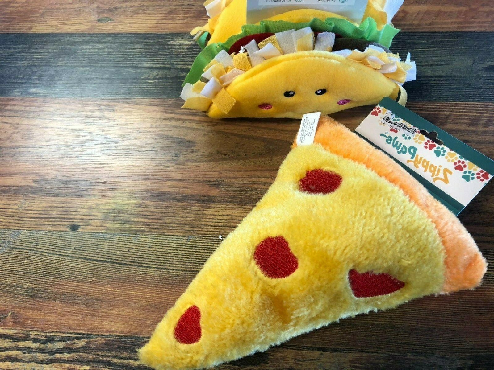 zippy paws plush dog toy pizza or