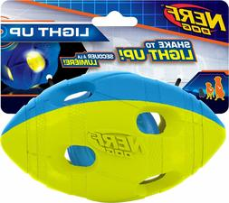 Nerf Dog Light Up LED Bash Football, Blue/Green