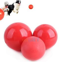 New Pet Dog Cat Play Red Indestructible Solid Fetch Ball Rub