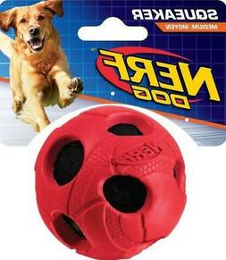 "NEW NERF DOG RED BALL MEDIUM 3"" SQUEAKER INTERACTIVE FETCH P"