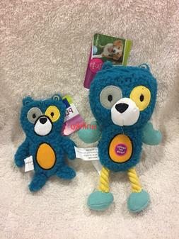 NWT Top Paw Blue Bear Crinkly Squeaky Rope Dog Play Toy Smal