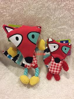 NWT Top Paw Red Fox Crinkly Squeaky Rope Dog Play Toy Small
