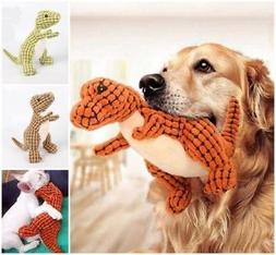 Pet Dog Toy Plush Dinosaur Shape Molar Chew Squeaker Squeaky