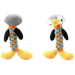 Vovomay Pet Plush Vocal Toys,Dog Rope Teeth Chew Animal Shap