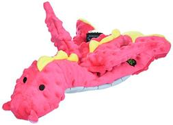 goDog Large Plush Dog Toy Dragon - Pink and Blue