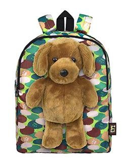 Plush Stuffed Dog Toy Doll with Pull Out Backpack, Green, On