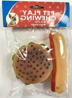 Rubber Chew Dog toy Shrilling Hamburger & HotDog squeaky Squ