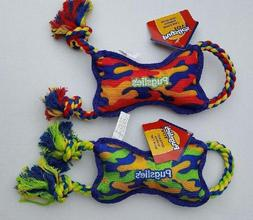 Set of 2 Heavy Duty Squeaking Camo Rope Bone Tug Dog Toys by