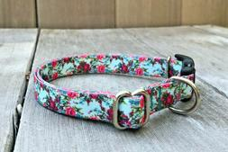 Small Toy Dog Collar - Thin Rose Floral Collar Size Small 5/