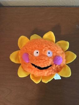 Zanies Smiling Orange and Yellow Sun Dog Toy Plush with Sque
