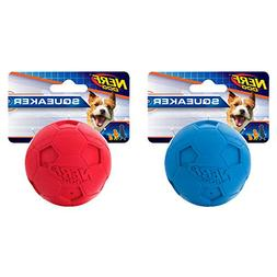 Nerf Dog (2-Pack Soccer Squeak Ball Dog Toy, Red/Blue, Small