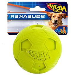 Nerf Dog Soccer Squeak Ball Dog Toy, Large, Green