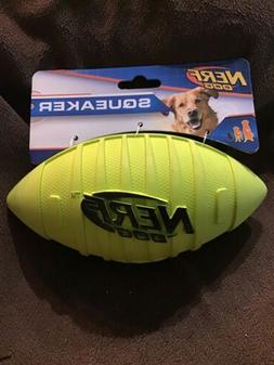 Nerf Dog Squeak Rubber Football Dog Toy, Medium/Large, Green