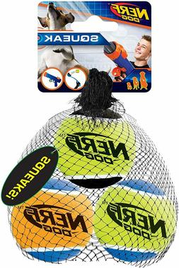 Nerf Dog Size Medium Squeak Tennis Balls, Pack of 3