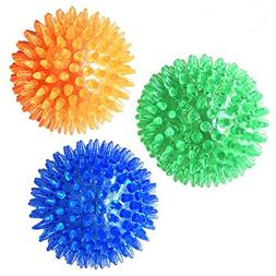 3 Pcs Pet Squeaky Chewing Balls Puppy Chew Toys Soft Stab Ba