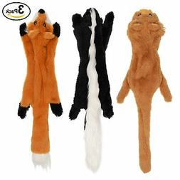 No Stuffing Dog Toys with Squeakers, Durable Stuffless Plush
