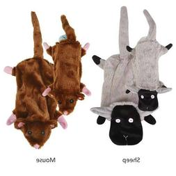 Stuffing Free Dog Toys, Mouse or Sheep, 2 sizes, Barnyard Un