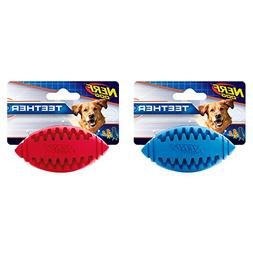 Nerf Dog Teether Rubber Treat Feeder Football Dog Toy, 3.25-
