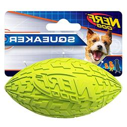 Nerf Dog Tire Squeak Football Dog Toy, Green, Small