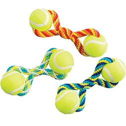 "Ethical Pets Tug Double Tennis Ball Dog Toy, 7"", Assorted"