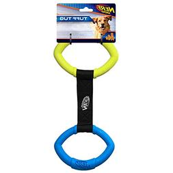 Nerf Dog Two Ring Rubber Tug Interactive Dog Toy, Green and