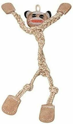 """HUGGLEHOUNDS WEE 9"""" THIN 3MM ROPE & LEATHER SOCK MONKEY KNOT"""