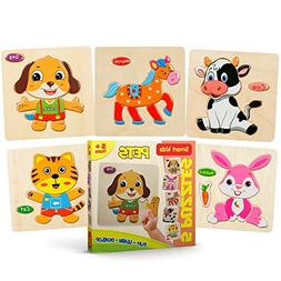 Smart Kids - Wooden Puzzles for Toddlers - 5 Pack - Baby Puz