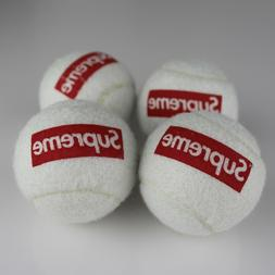 x4 Hypebeast Supreme Tennis Balls Dog toy with red box logo